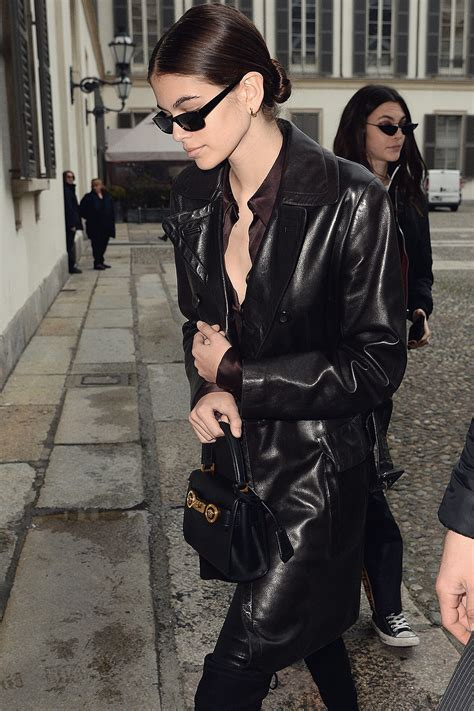 Kaia Gerber arrive at Versace Fashion Show - Leather