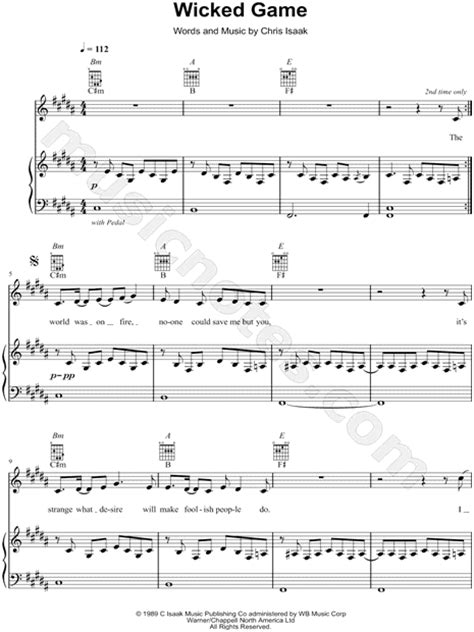 """James McMorrow """"Wicked Game"""" Sheet Music in B Major"""